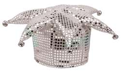 White Sequined Jester Hat | Party Supplies
