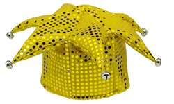 Yellow Sequined Jester Hat | Party Supplies