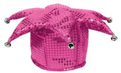 Pink Sequined Jester Hat | Party Supplies