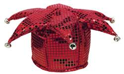 Red Sequined Jester Hat | Party Supplies