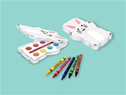 Bunny-Shaped Paint/Crayon Set | Party Supplies