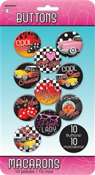 50's Rock & Roll Buttons | Party Supplies