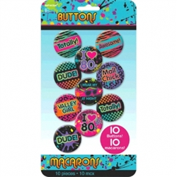 80's Buttons | Party Supplies
