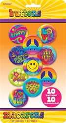 60's Buttons | Party Supplies