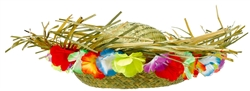 Staw Hat w/Floral Trim | Party Supplies
