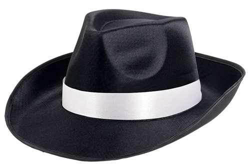 Gangster Fedora Hat - Black W White Band  0f19e792e57