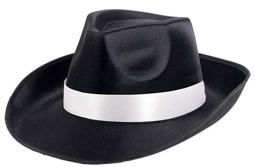860d918bf9 Gangster Fedora Hat - Black W/White Band