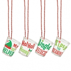 Christmas Shot Glass Bead Necklaces | Party Supplies