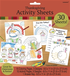Thanksgiving Activity Sheets | Party Supplies