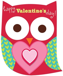 Valentine Owl Cards with Erasers | Valentine's Day Card
