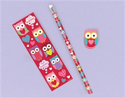 Valentine Sticker, Pencil, Eraser Set | Valentine's Day Pencil
