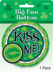 Kiss Me Big Fun Button | St. Patrick's Day Kiss Me Button