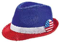 Patriotic Sequined Fedora | Party Supplies