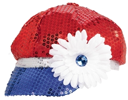 Patriotic Sequined Hat with Flower | Party Supplies