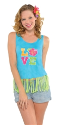 Women's Fringe Tank Top | Luau Party Supplies