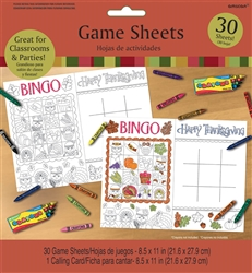 Thanksgiving Game Sheets | Party Supplies