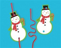 Christmas Card w/Plastic Straw | Party Supplies