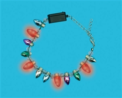 Christmas Light Bulb Light-Up Bracelet w/Plastic Charms | Party Supplies