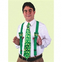 St. Patrick's Day Shot Glass Suspenders | Green Party Apparel