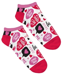 Valentine Phrases No Show Socks | Party Supplies