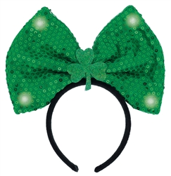 St. Patrick's Day Light-Up Bow Headband | Party Supplies