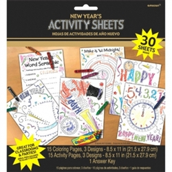 New Years Coloring Activity Sheets | Party Supplies