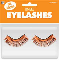 Orange Tinsel Eyelashes | Party Supplies