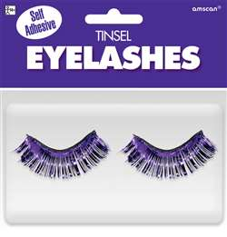 Purple Tinsel Eyelashes | Party Supplies