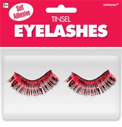 Red Tinsel Eyelashes | Party Supplies