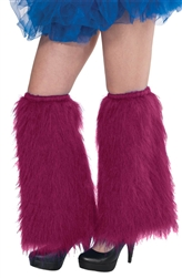 Burgundy Plush Leg Warmers
