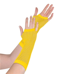 Yellow Fishnet Long Gloves | Party Supplies