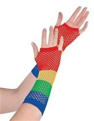 Rainbow Fishnet Long Gloves | Party Supplies