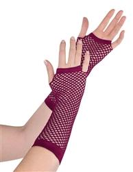 Burgundy Fishnet Long Gloves | Party Supplies