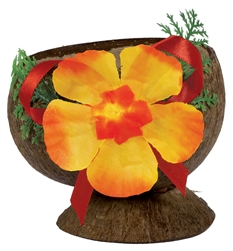 Authentic Coconut Cup w/Flower | Party Supplies