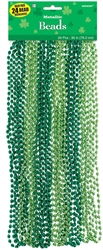 St. Patrick's Day Metallic Bead Necklaces | Green Party Favors
