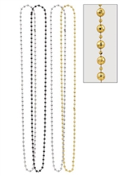 Black, Gold & Silver Disco Ball Bead Necklaces 4ct | New Year's Supplies