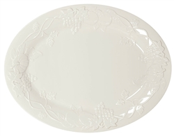 Oval Cream Plastic Platter | Party Supplies