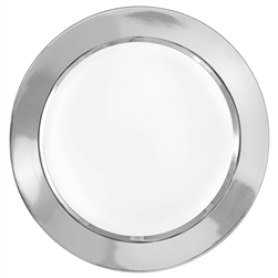 "Round 10-1/4"" Plastic White Plate w/Silver Border 