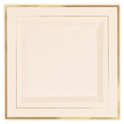 "Premium 10"" Plastic Square Cream Plates w/Gold Trim 