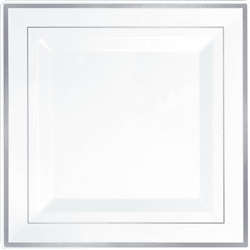 "Premium 10"" Plastic Square White Plates w/Silver Trim 