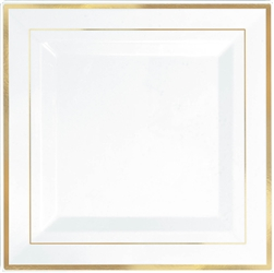 "Premium 10"" Plastic Square White Plates w/Gold Trim  
