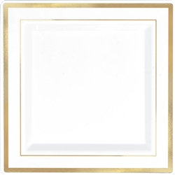 "Premium 7-1/4"" Plastic Square White Plates w/Gold Trim 