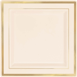 "Premium 7-1/4"" Plastic Square Cream Plates w/Gold Trim 