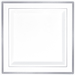 "Premium 7-1/4"" Plastic Square White Plates w/Silver Trim 