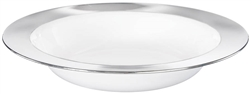 White 12oz Plastic Bowl w/Silver Border | Party Supplies