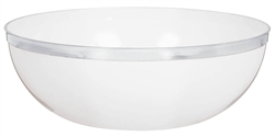 White 125oz. Plastic White Bowl w/Silver Trim | Party Supplies