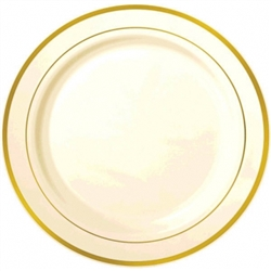 "Premium 16"" Plastic Cream Tray w/Gold Trim 