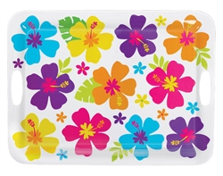 Hibiscus White Handle Tray | Luau Party Supplies