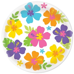 Hibiscus White Round Platter | Luau Party Supplies