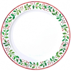 "Christmas 10-1/4"" Round Plastic Plates 